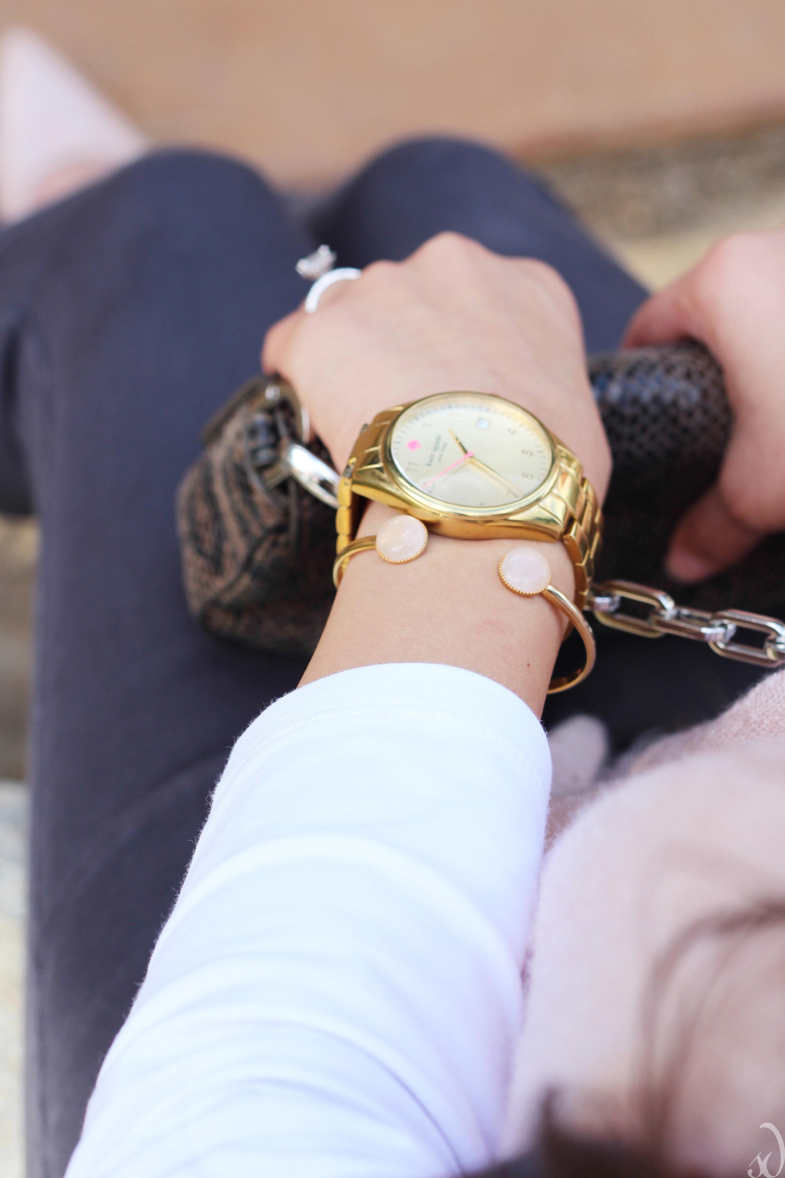 blush cuff, gold watch, kate spade, the dot, jewelry, accessories