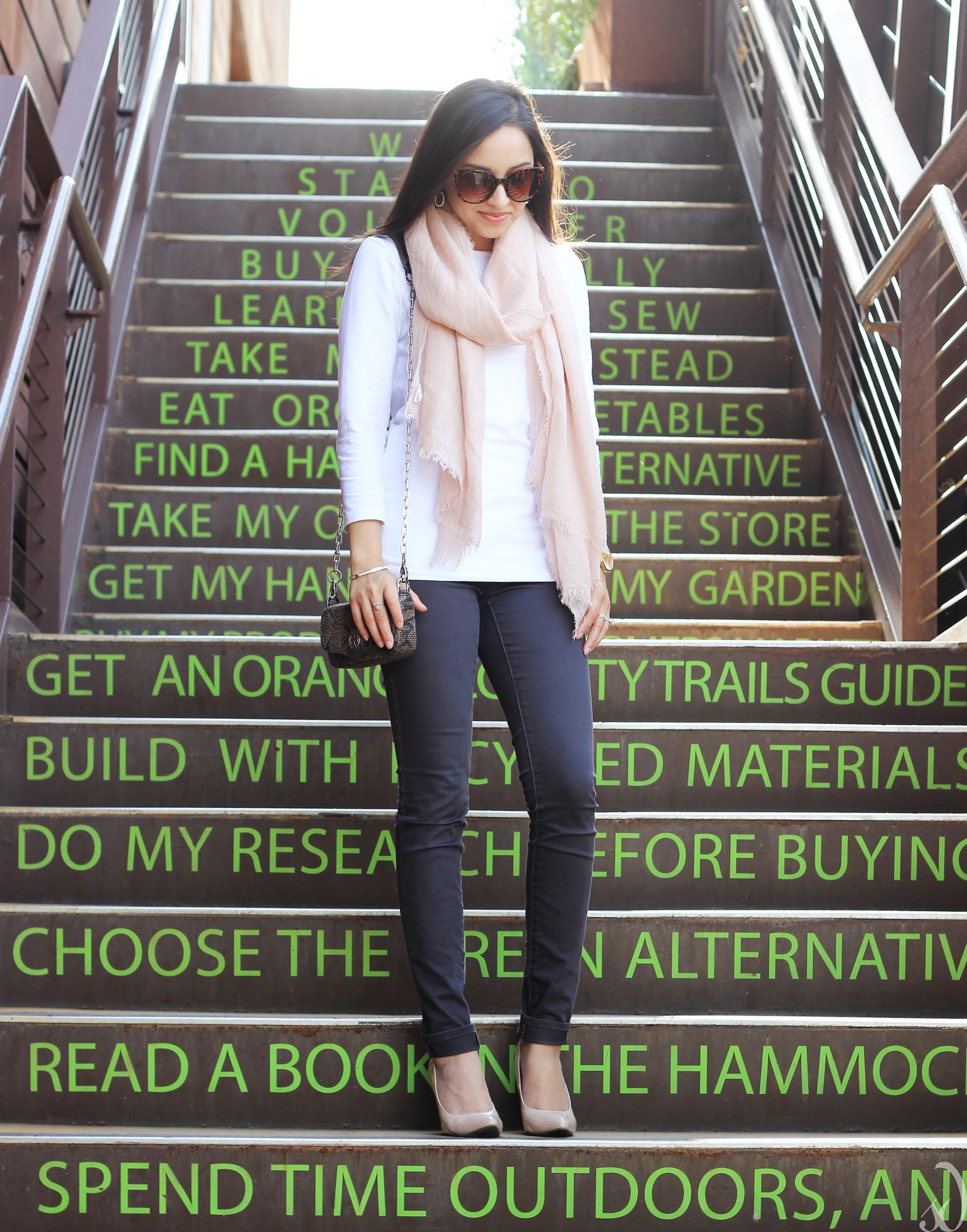 easy transitional spring outfit, blush, heels, gray jeans, white, scarf