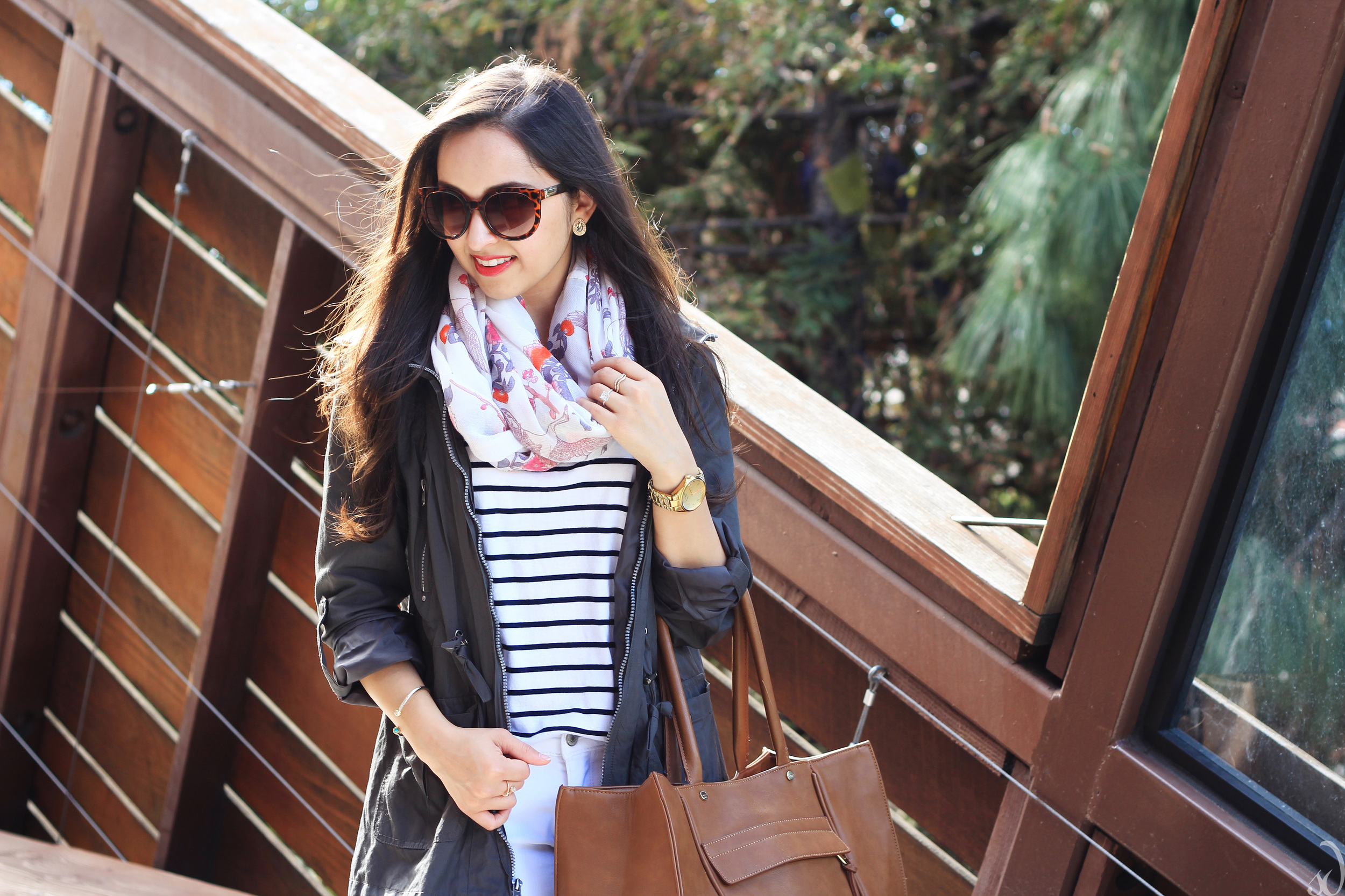 Stripes, utility jacket, scarf, floral, road trip, travel style, comfy