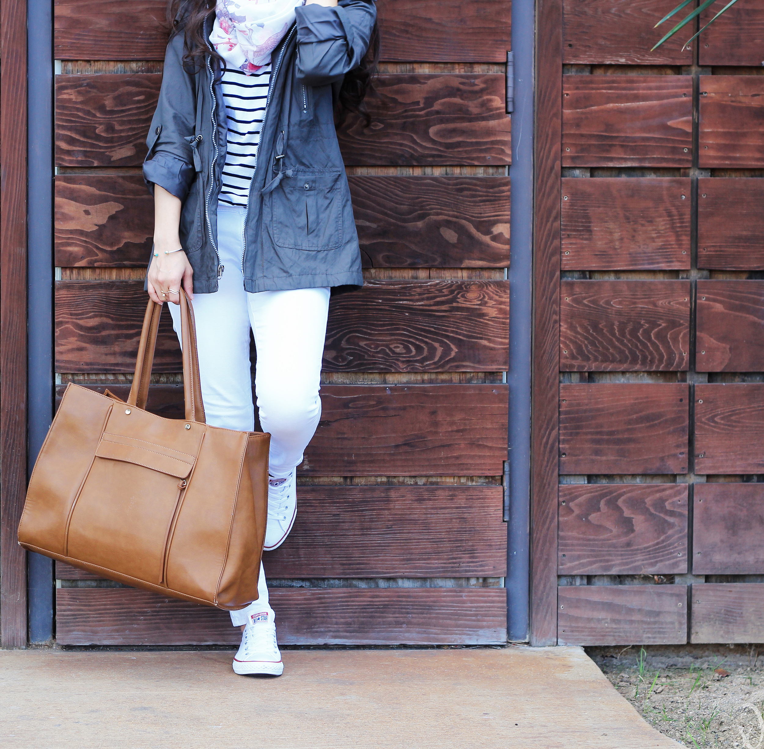 Converse, white denim, travel style, road trip, utility army green jacket, scarf, stripes, brown tote