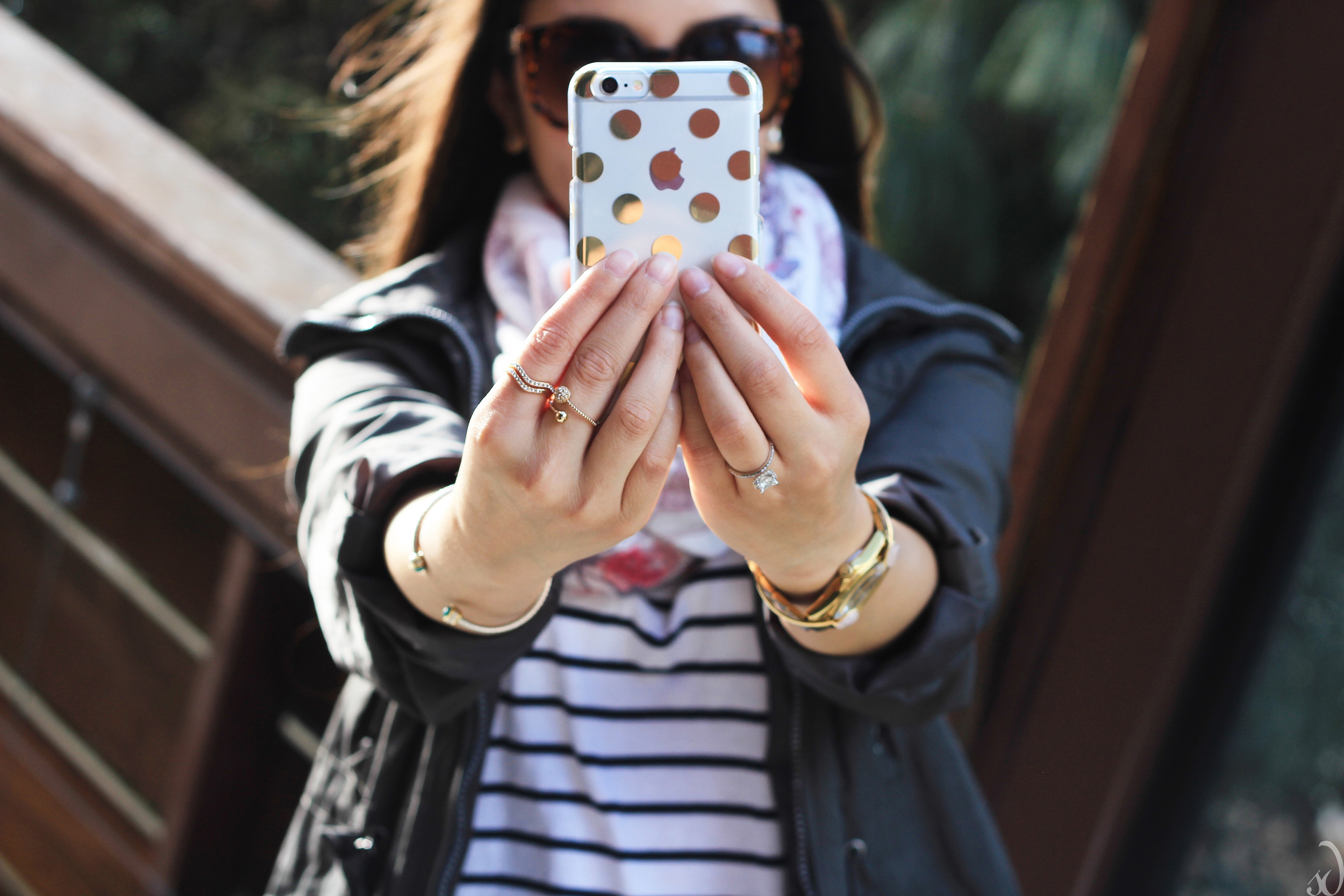 Selfie, Iphone 6, polkadots, phone case, Kate Spade, Jewelry from the Dot, dainty rings