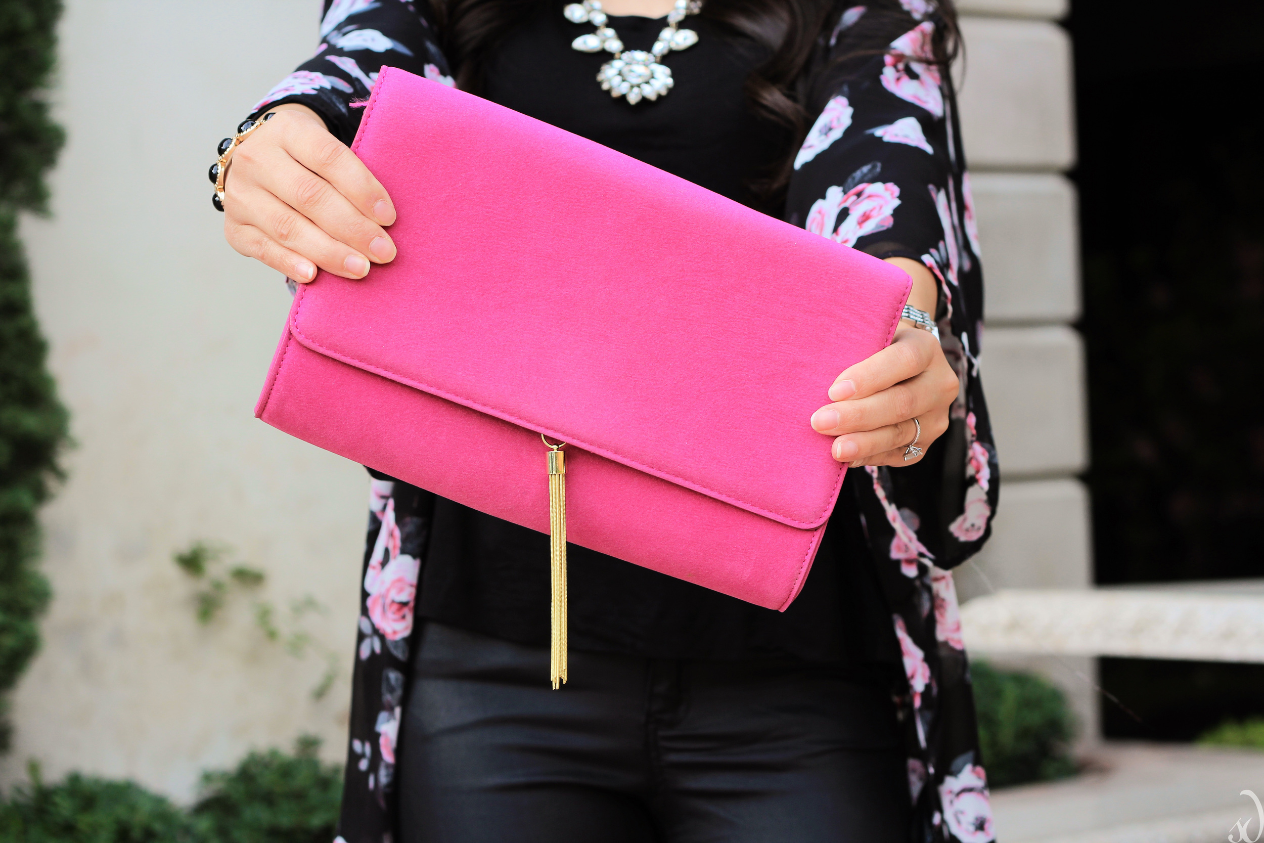 magenta, pink, hot pink, fuchsia purse, tassel detail, rose print, black on black