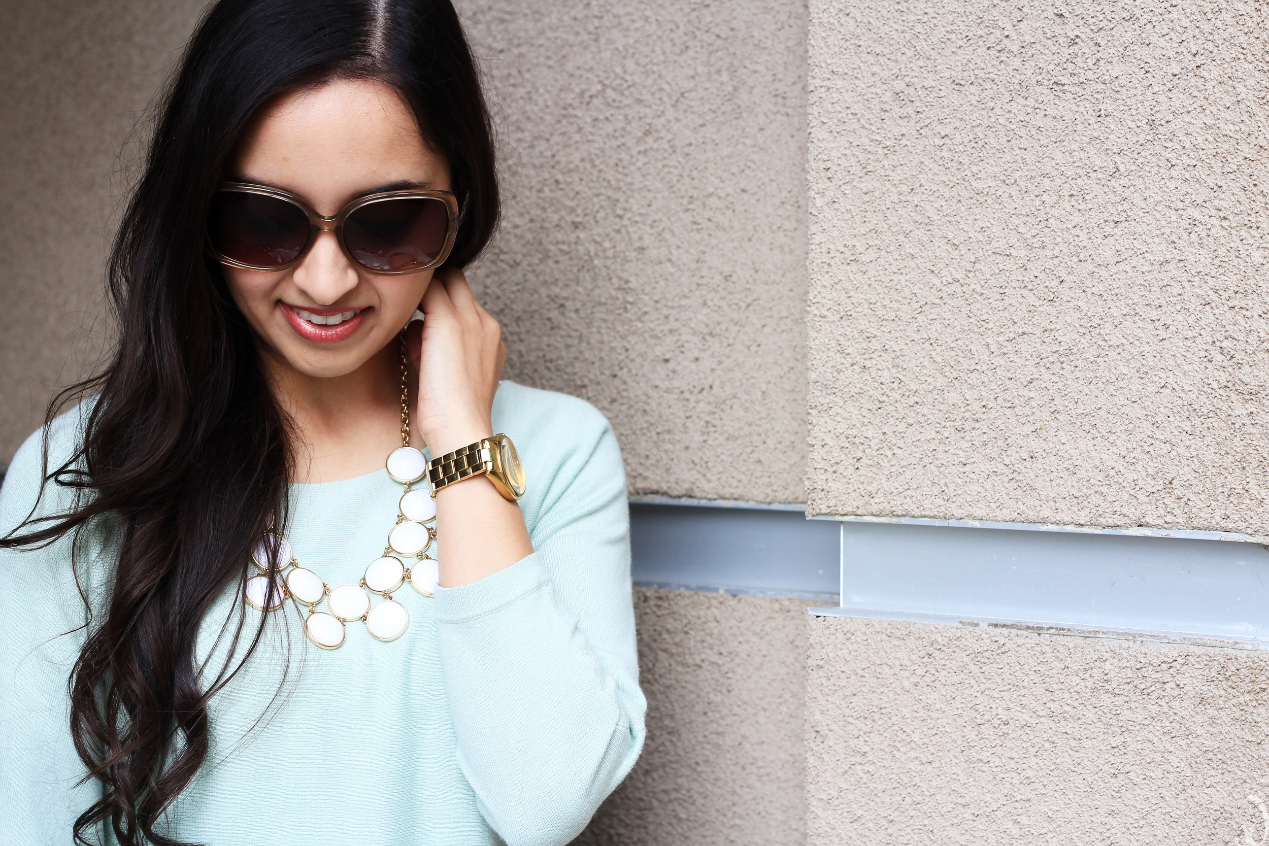 taupe, mint, statement necklace, ann taylor, kate spade, spring style, neutral, white