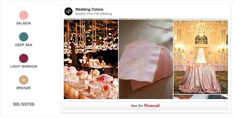 Metallic Pink fall wedding, wedding Paper Divas, vintage glam, pink bridal shower ideas