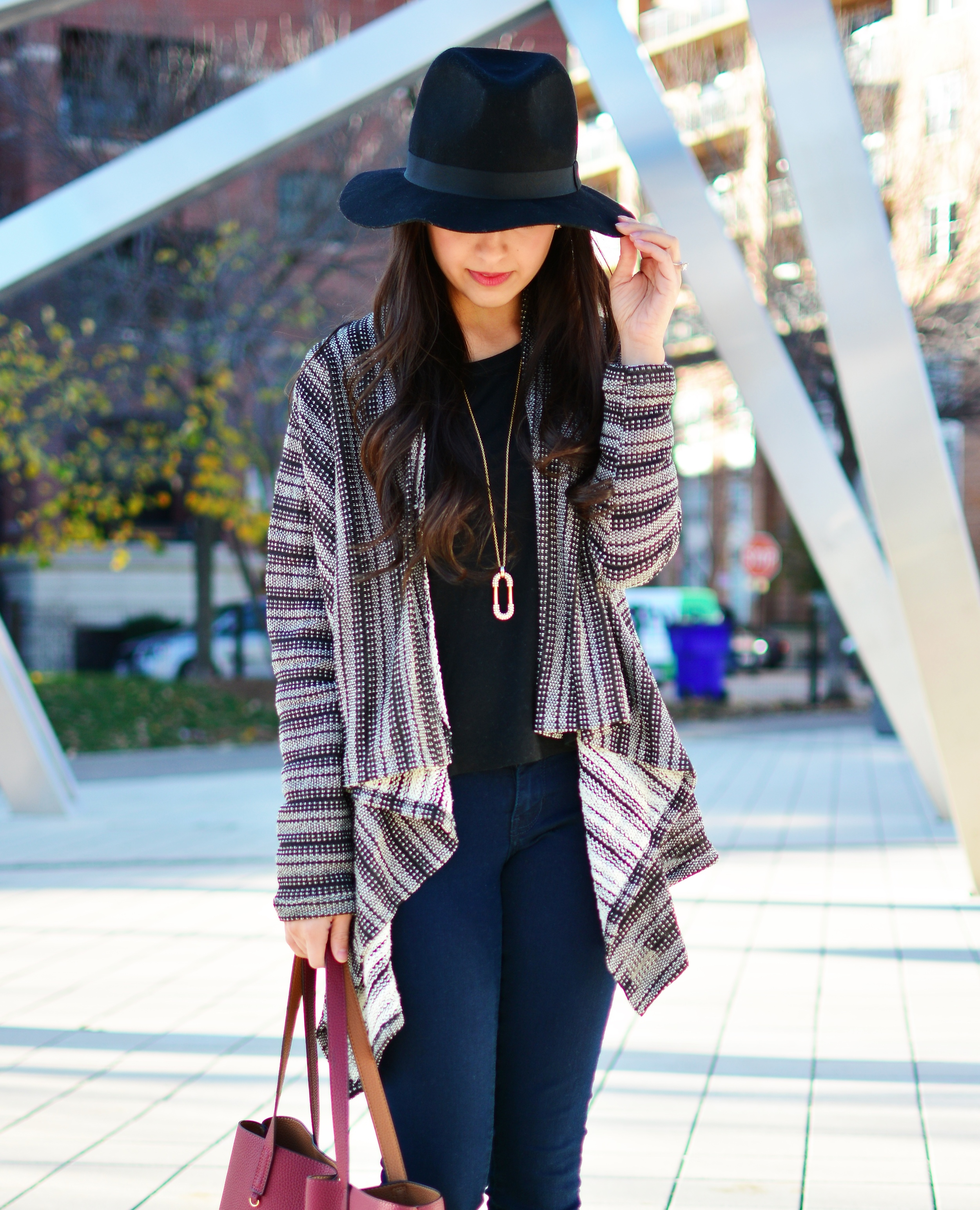 Fall fashion, stripe cardigan, blanket sweater, neutrals, all black outfit, burgundy, black felt fedora, suede booties, Chicago Blogger, indian fashion blogger, fall style, sweater weather