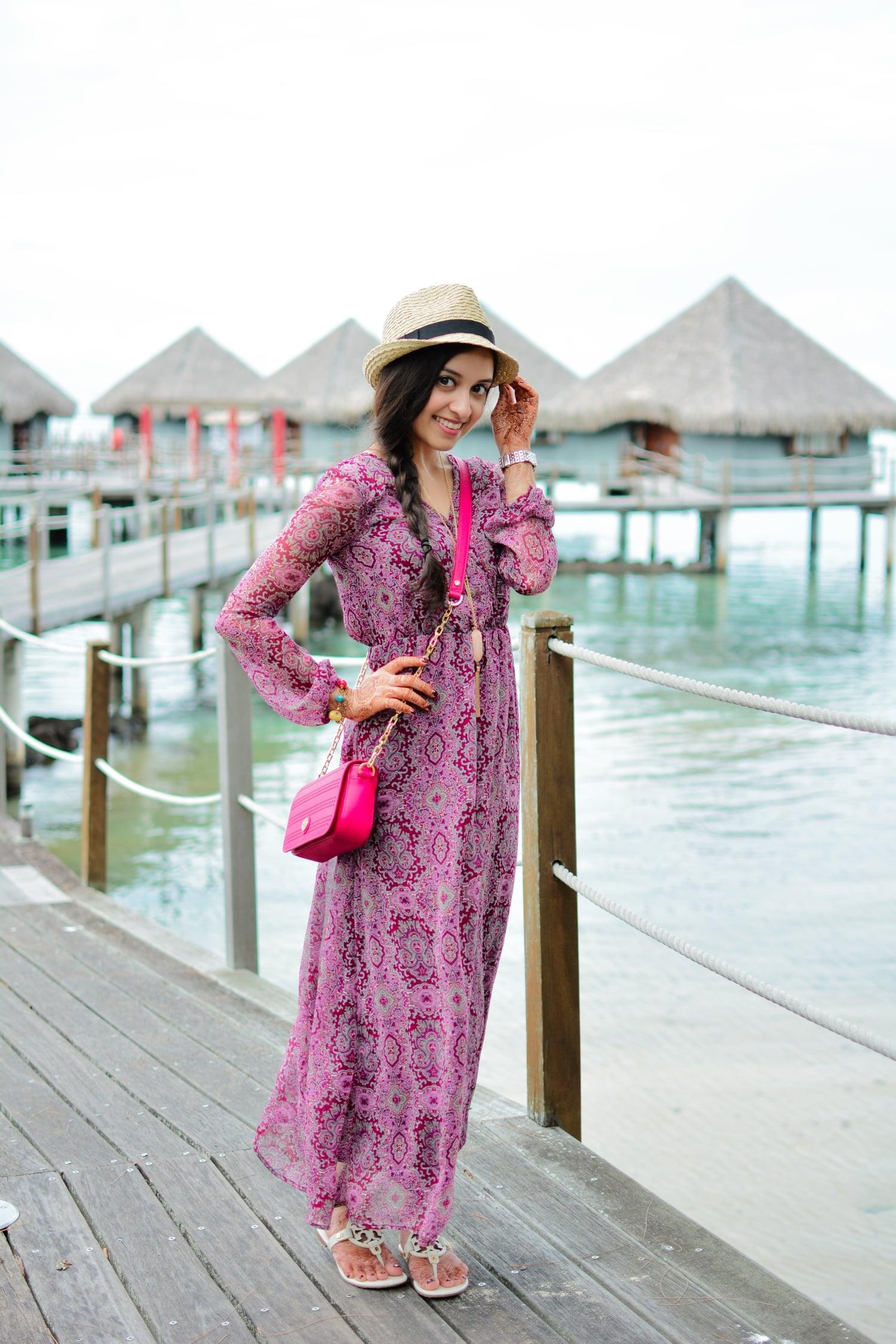purple paisley maxi dress vacation bora bora tahiti beach summer weather resort fedora tory burch sandals cross body hot pink