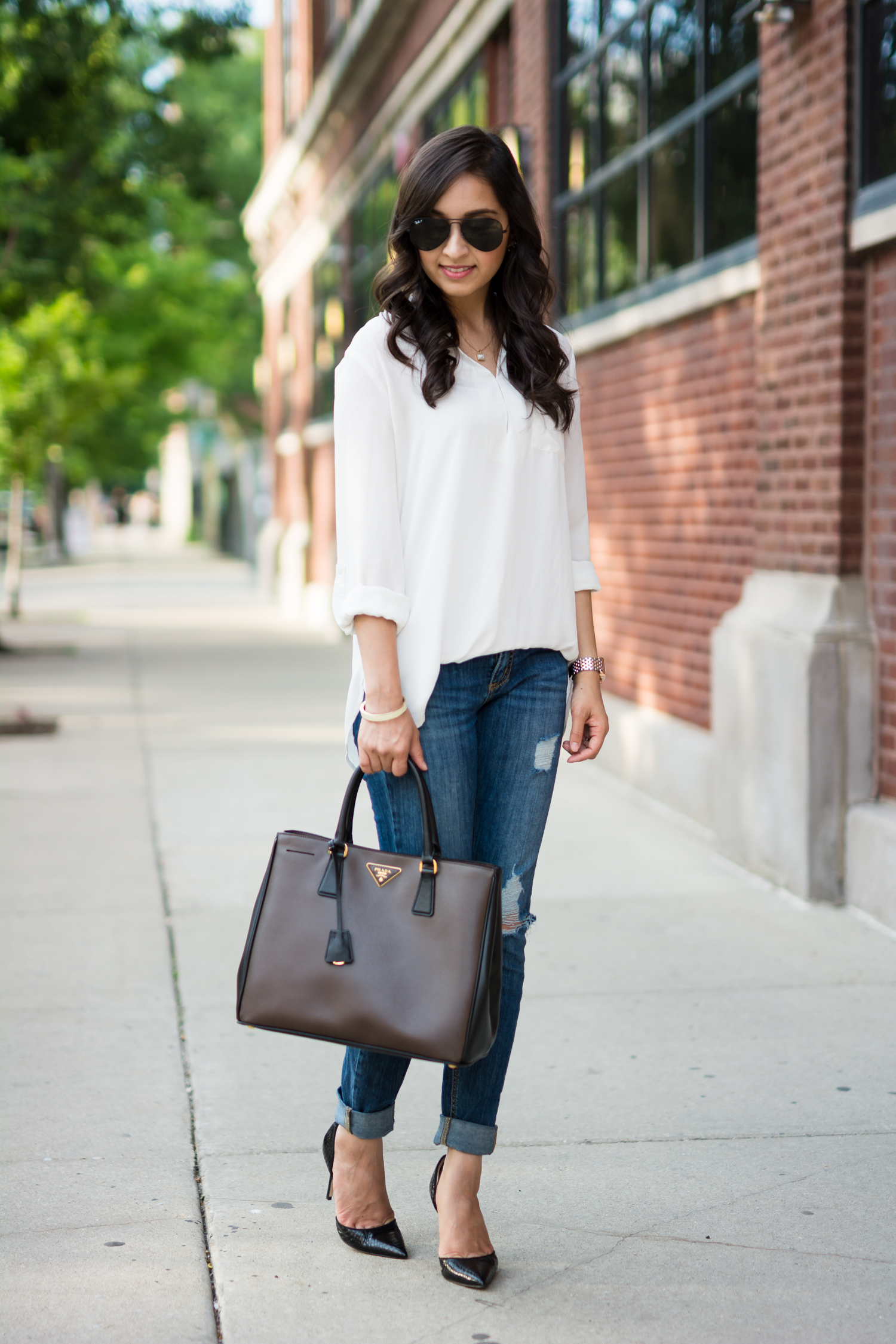 summer style, date night, casual style, prada, sam edelman, distressed denim, white blouse, ray ban aviators, casual chic, summer time date, michele watch