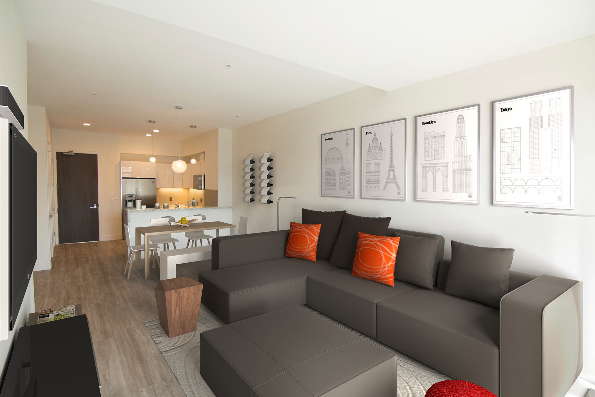Modern Apartments for Rent in Westwood, CA Living Room