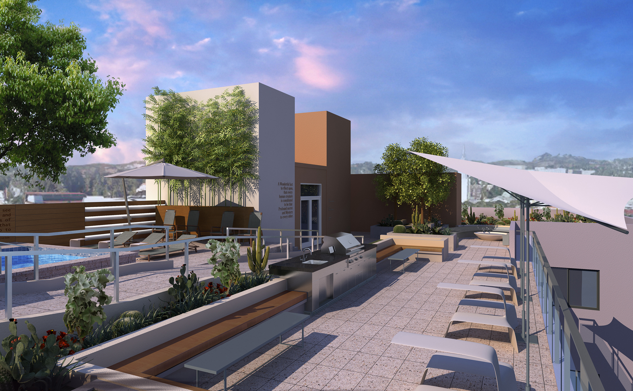 Modern Apartments  For Rent in Westwood, Los Angeles CA - Gayley & Lindbrook Rooftop Deck
