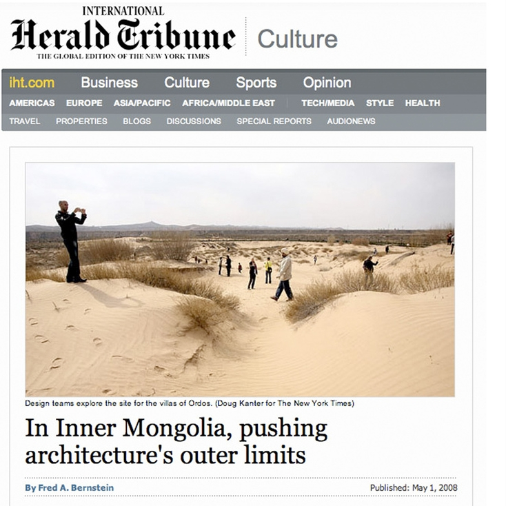 International Herald Tribune (the New york Times) publishes an extensive article on the Ordos100 project.