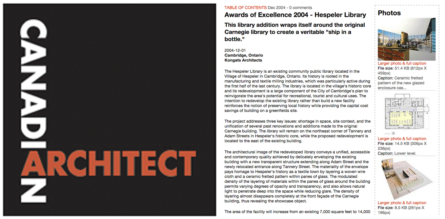 Hespeler Library architectural team wins Canadian Architect Magazine award of Excellence - Samer Hout Intern architect / designer for Kongats Architects.
