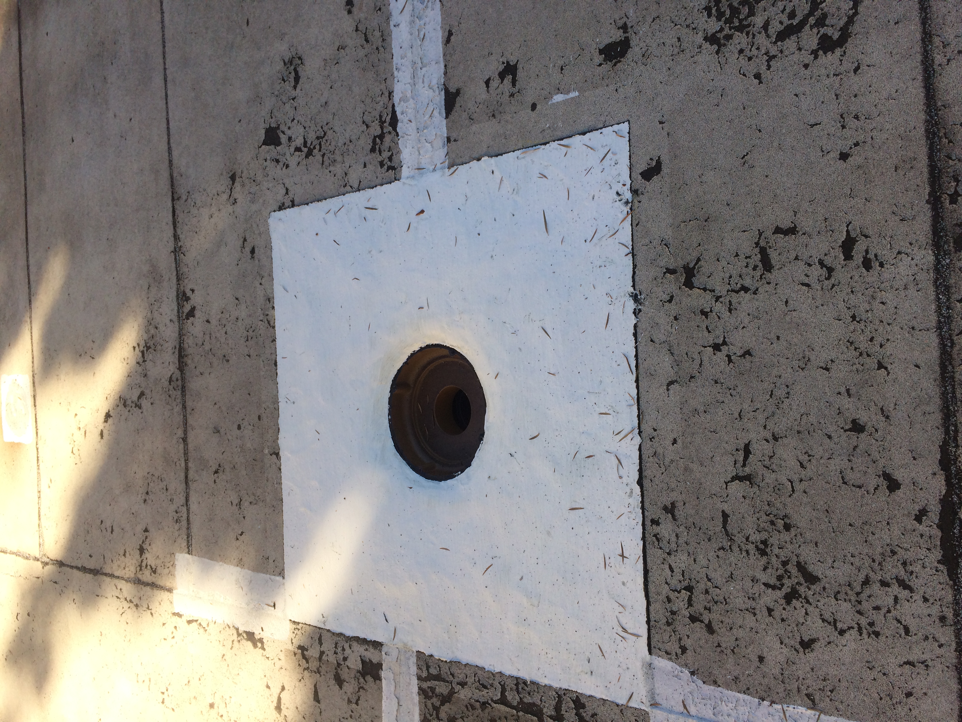 New roof drain installed