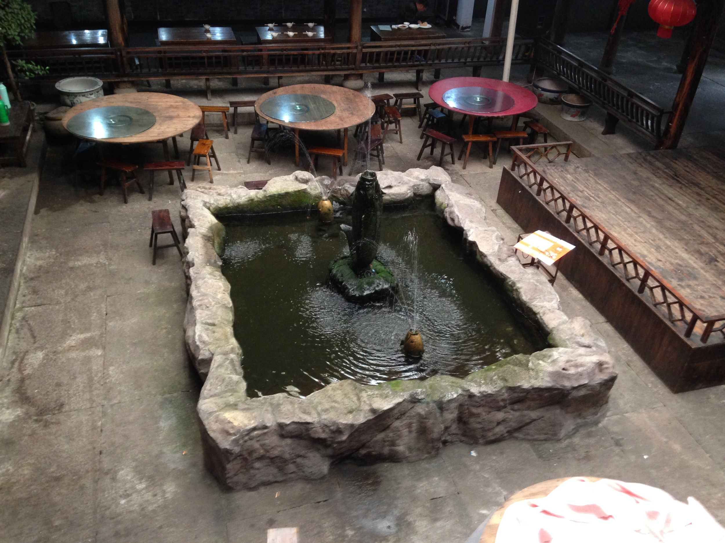 Ancient water feature in a Linhai restaurant.