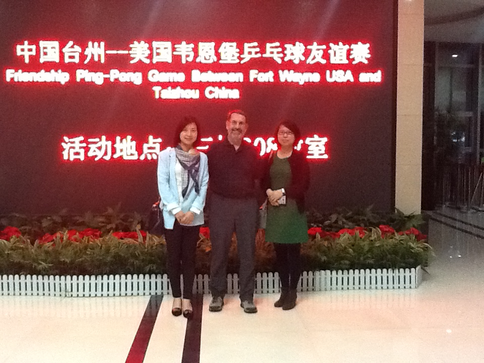 Brian Groat with Betty Wong and Sharon Chan of the Taizhou Foreign Affairs Office.