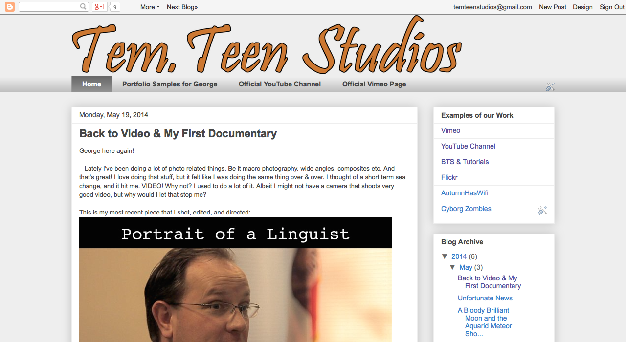 Front page for Blogger site