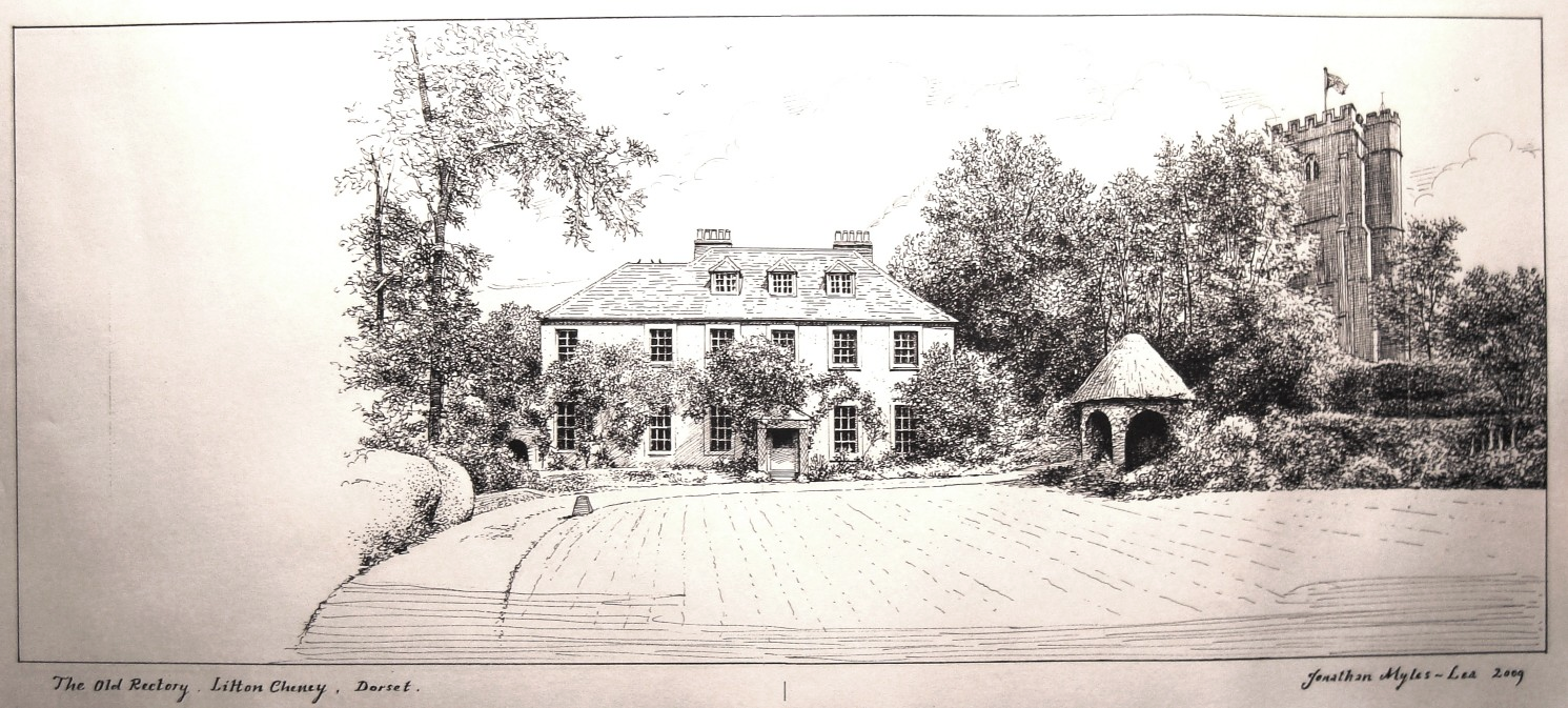 The Pen & Ink compositional drawing for The Rectory at Litton Cheney, Dorset, England.