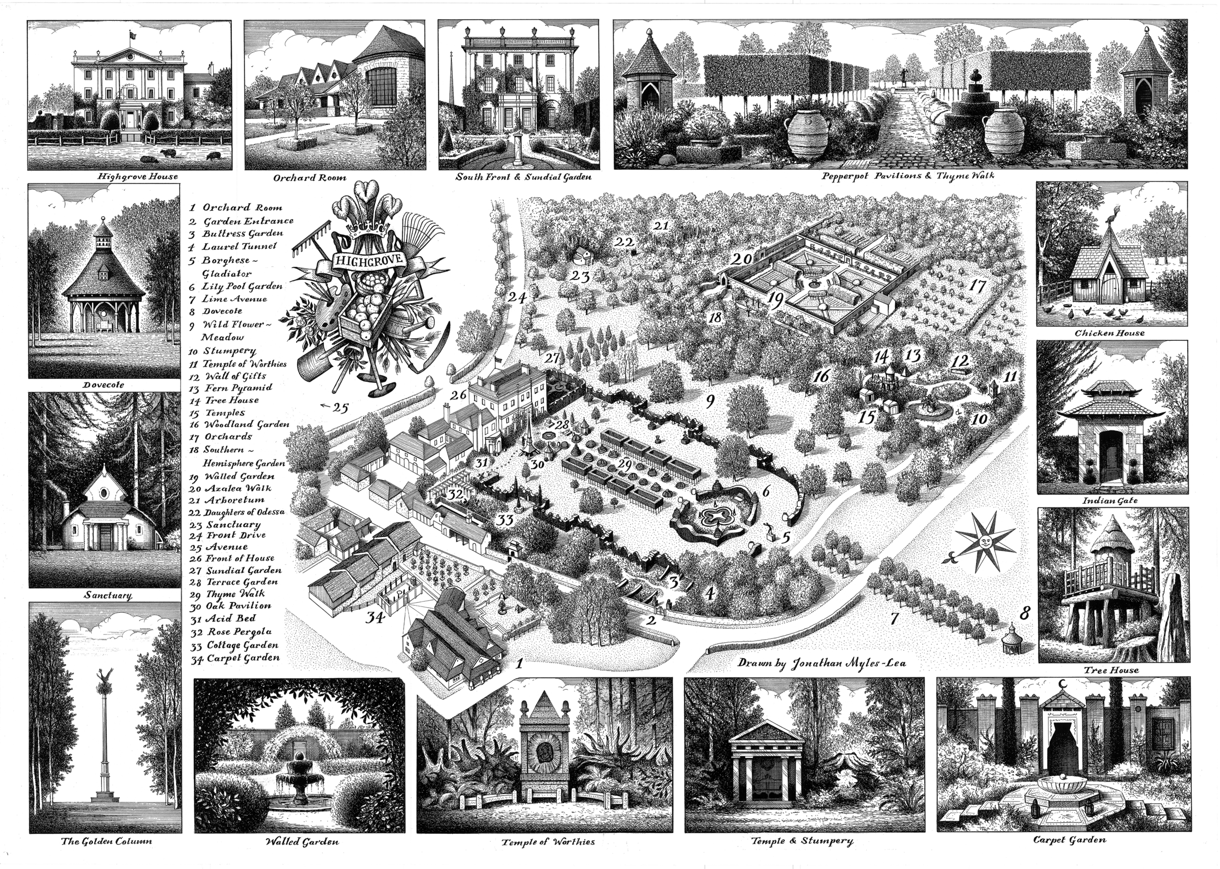 Jonathan Myles-Lea was commissioned to create this meticulous map of the gardens at Highgrove in 2009. The drawing has been used in various publications, including the official visitorguide to the property as well as on the cover of Prince Charles's latest book. Available from the Highgrovewebsite here.