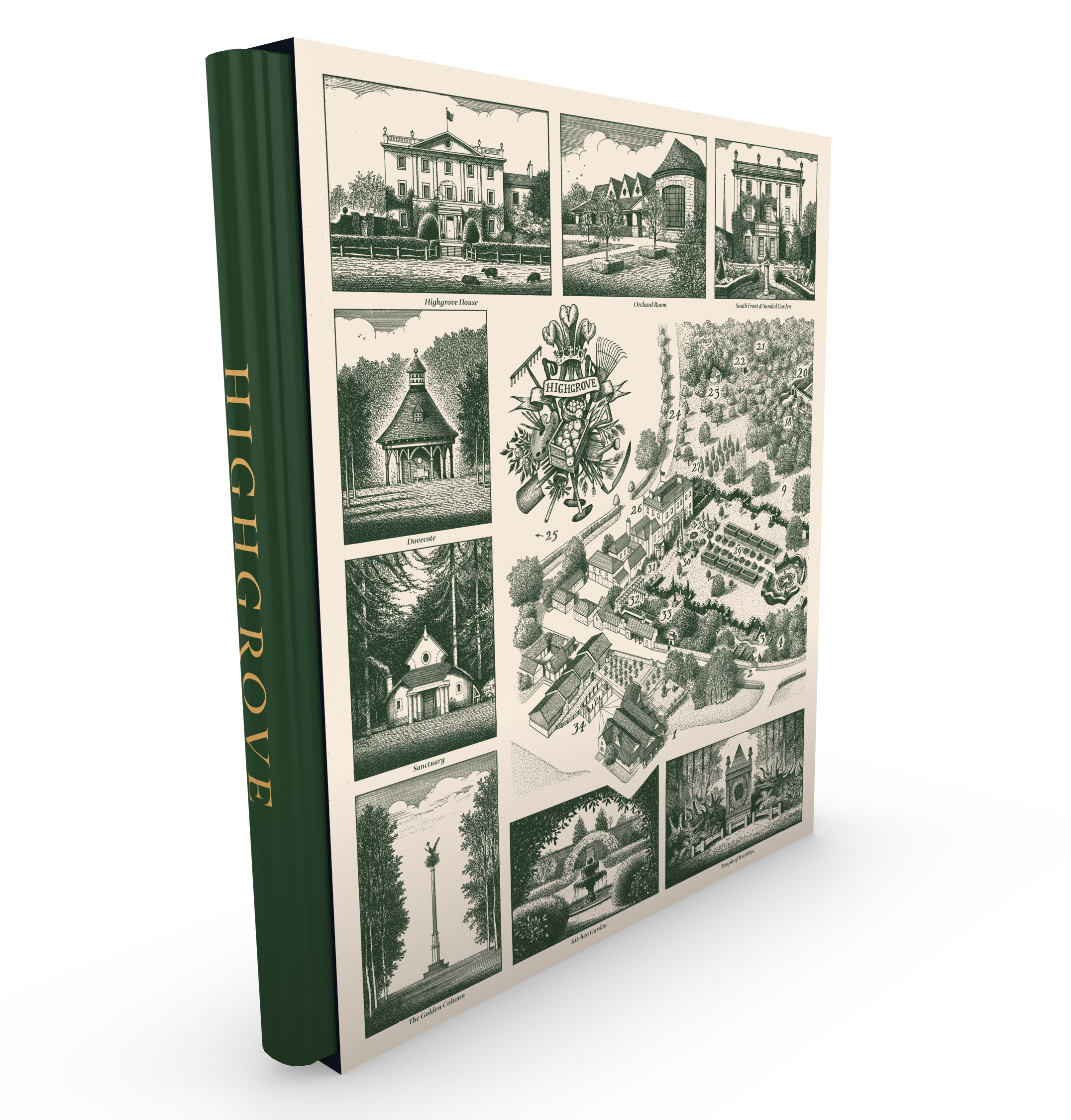 Jonathan's map of Highgrove appears on the cover of a limited-edition, leather-bound book written by Prince Charles -  Available here from Highgrove Shop websitepriced £500.
