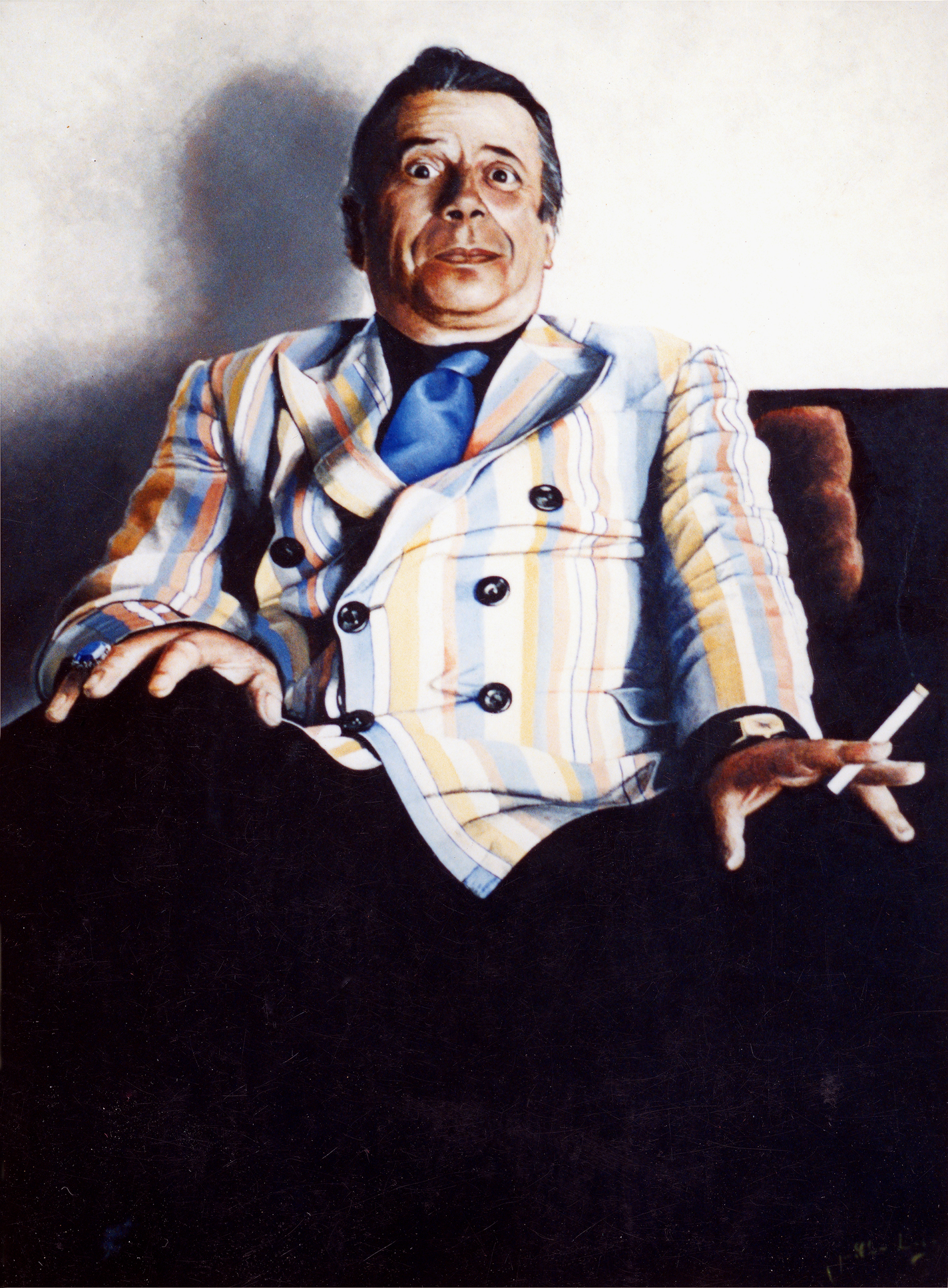 My portrait of George Melly, 1985.