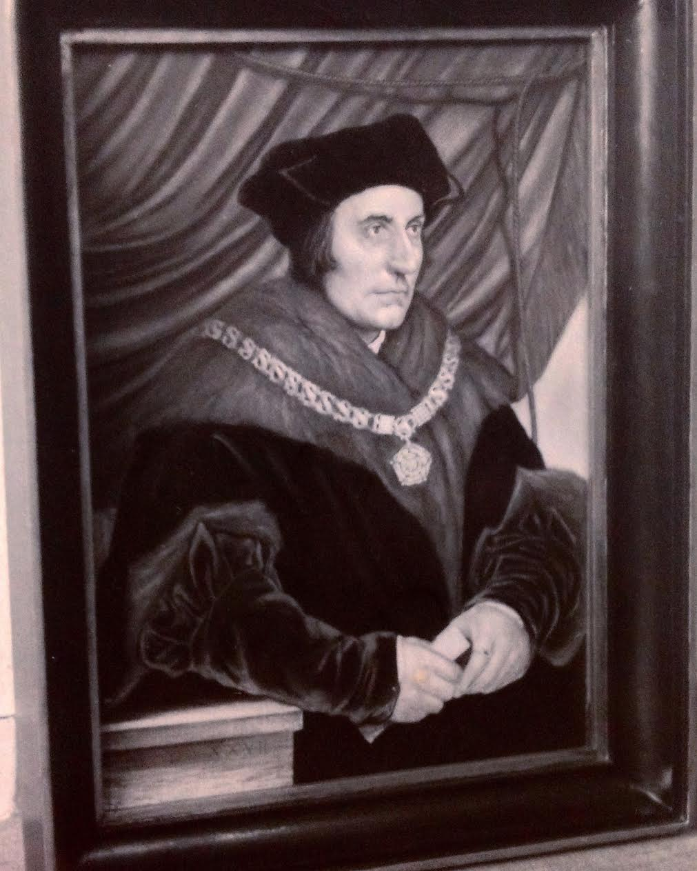 My copy of Hans Holbein's portrait of Sir Thomas Moore (1478-1535). Painted when I was eighteen years old in 1989.