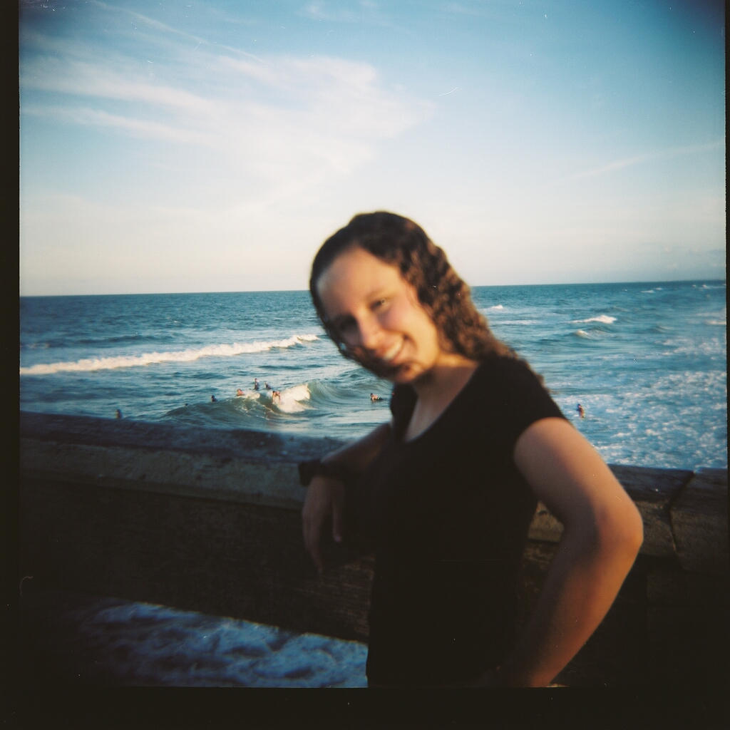 Olivia, St. John's Pier. Kodak Portra 100