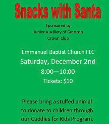 🎅🎄Snacks with Santa tickets are available now! Contact any Crown Club or JA Member! You do not want to miss this fun event for your children! Mark you calendar and buy some tickets! 🤶🍭