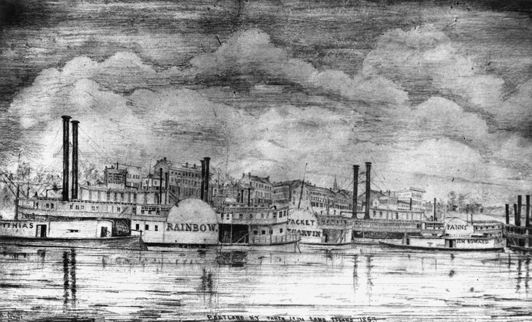 Sketch of Portland Wharf near its peak of steamboat activity in 1853