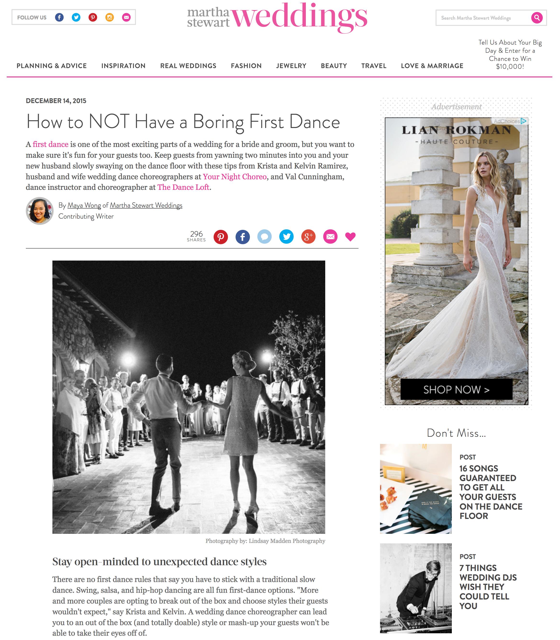 Val Cunningham featured on Martha Stewart Wedding Magazine