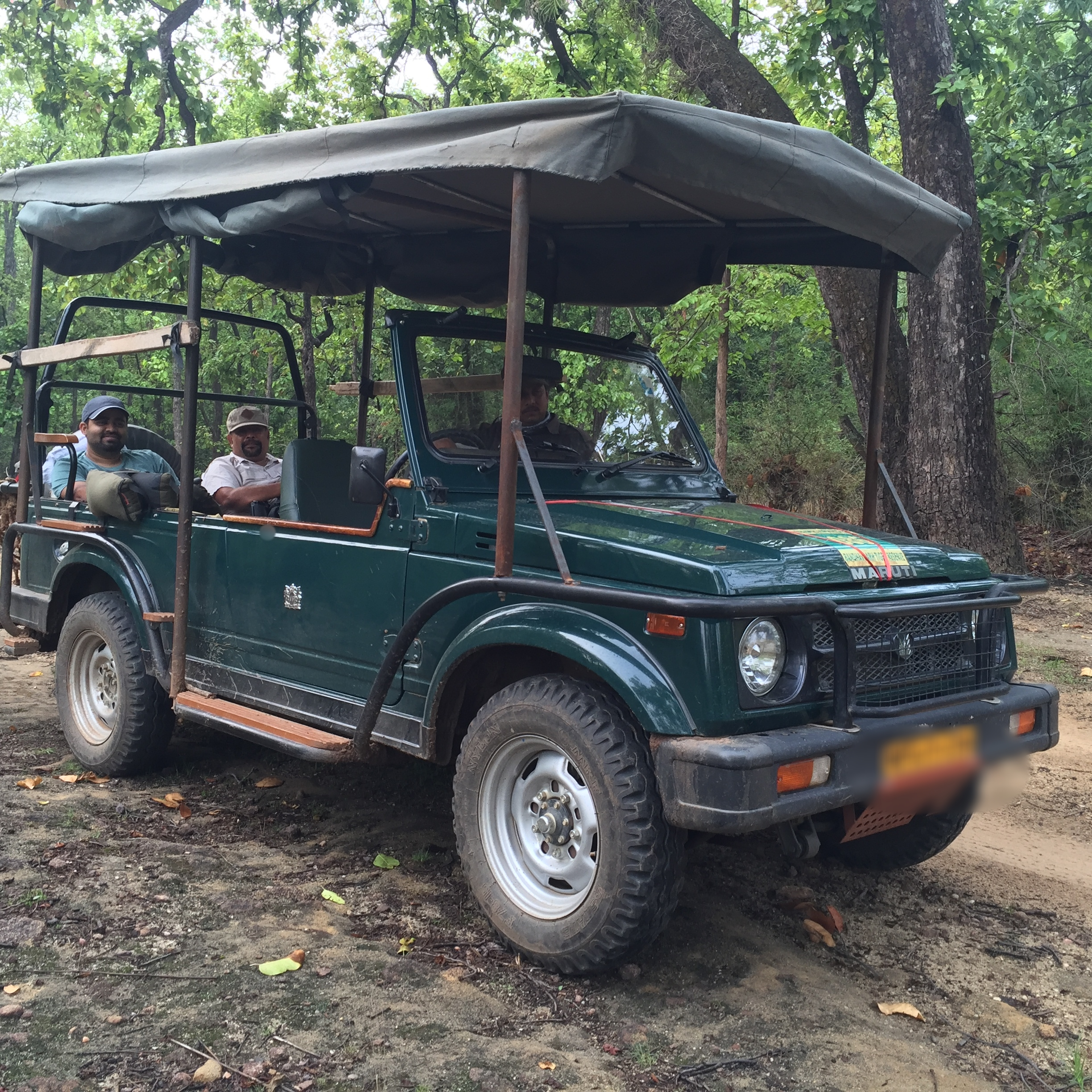 The customised jeep with roofing