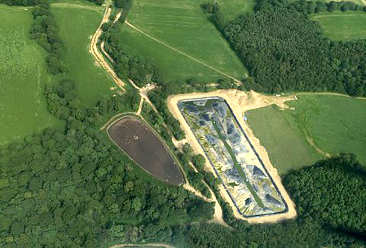 Digestate lagoon under construction