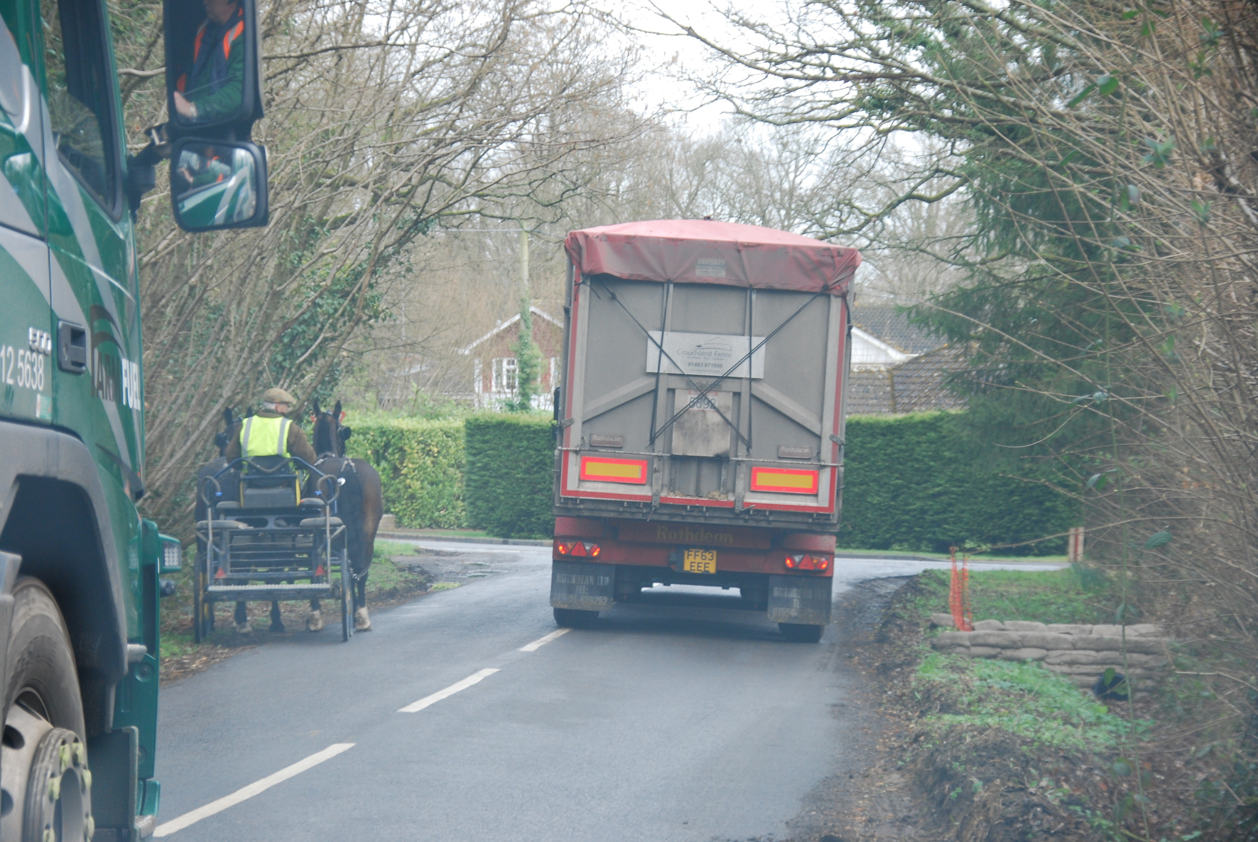 Two Crouchland HGVs create havoc for the carriage driver and his horses