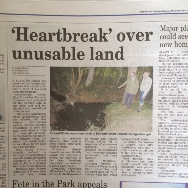 Yesterday's article in the Midhurst and Petworth Observer and County Times  This is the advertisement that Crouchland Biogas took in the local press. We have added our comments to set the story right.