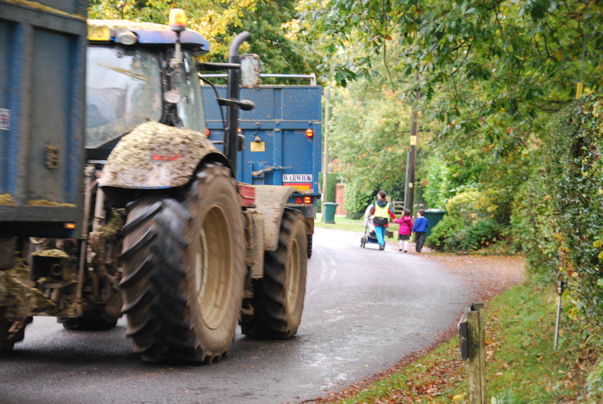 Two tractors unable to keep to their side of the lane