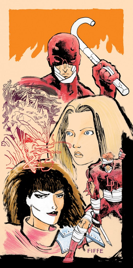 Daredevil, Karen Page and Typhoid Mary by Michel. Copyright 2016 Marvel Comics.