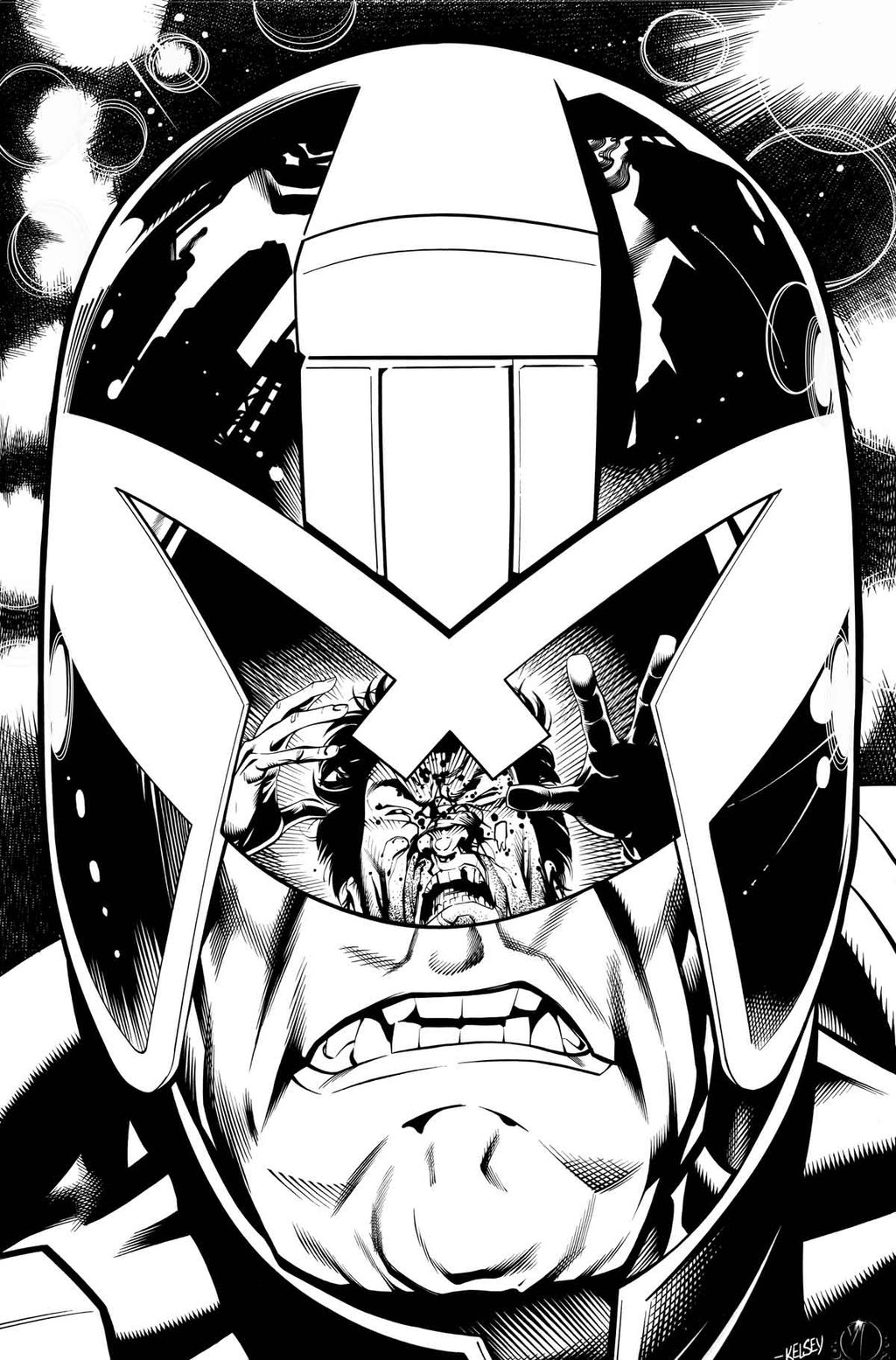 Judge Dredd - Inked by Deering over Kelsey Shannon (and is one of Adrian's favorite pieces by Marc EVER).