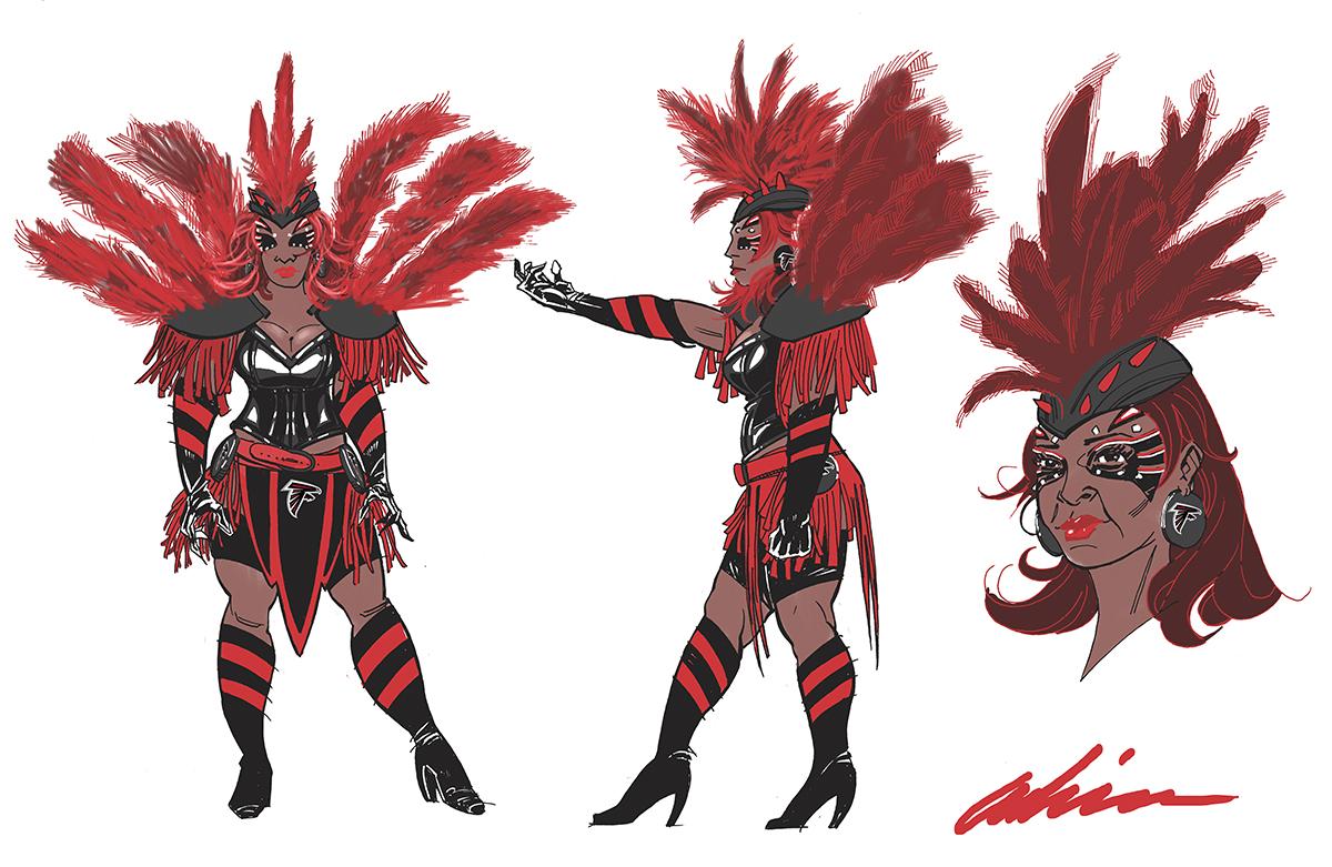 Concept Design for Atlanta Falcons 'Bird Lady' Costume