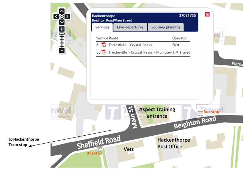 aspect training by bus - map