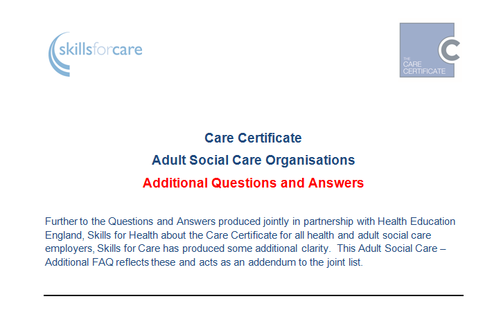 care certificate questions adult social care organisations