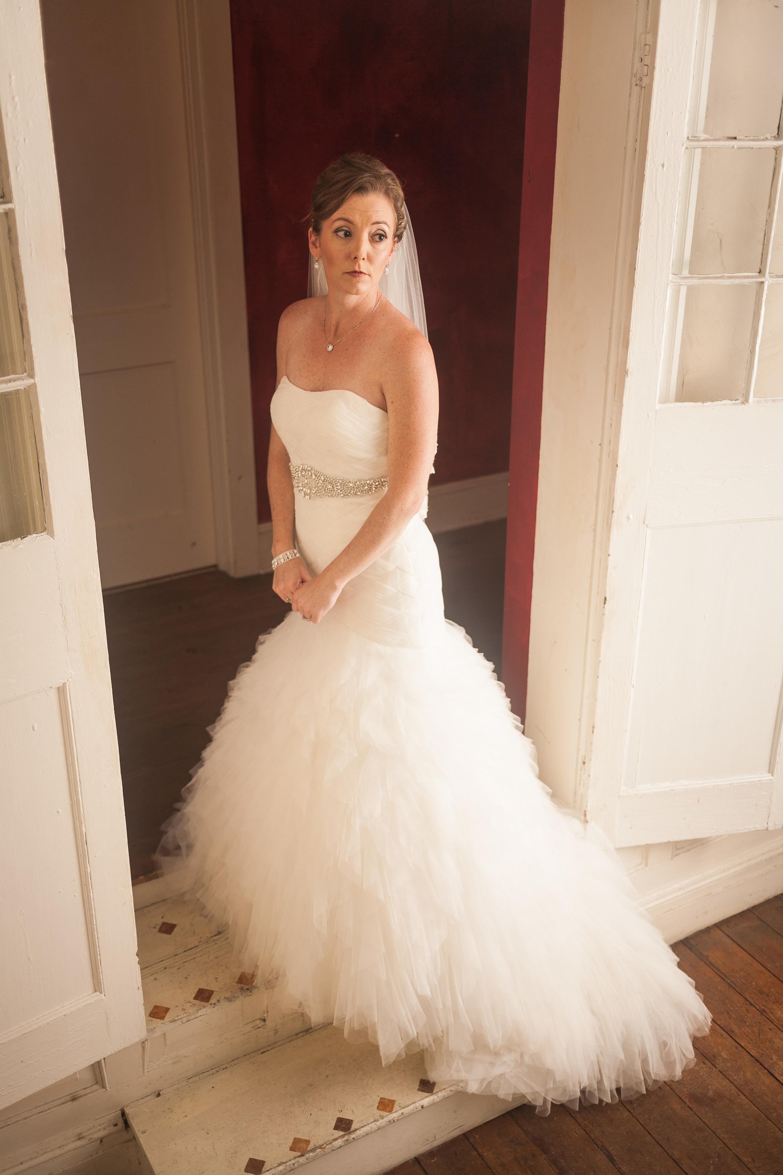 wedding photographer bent-lee carr the kyle house fincastle virginia bride in doorway looking off camera soft side light