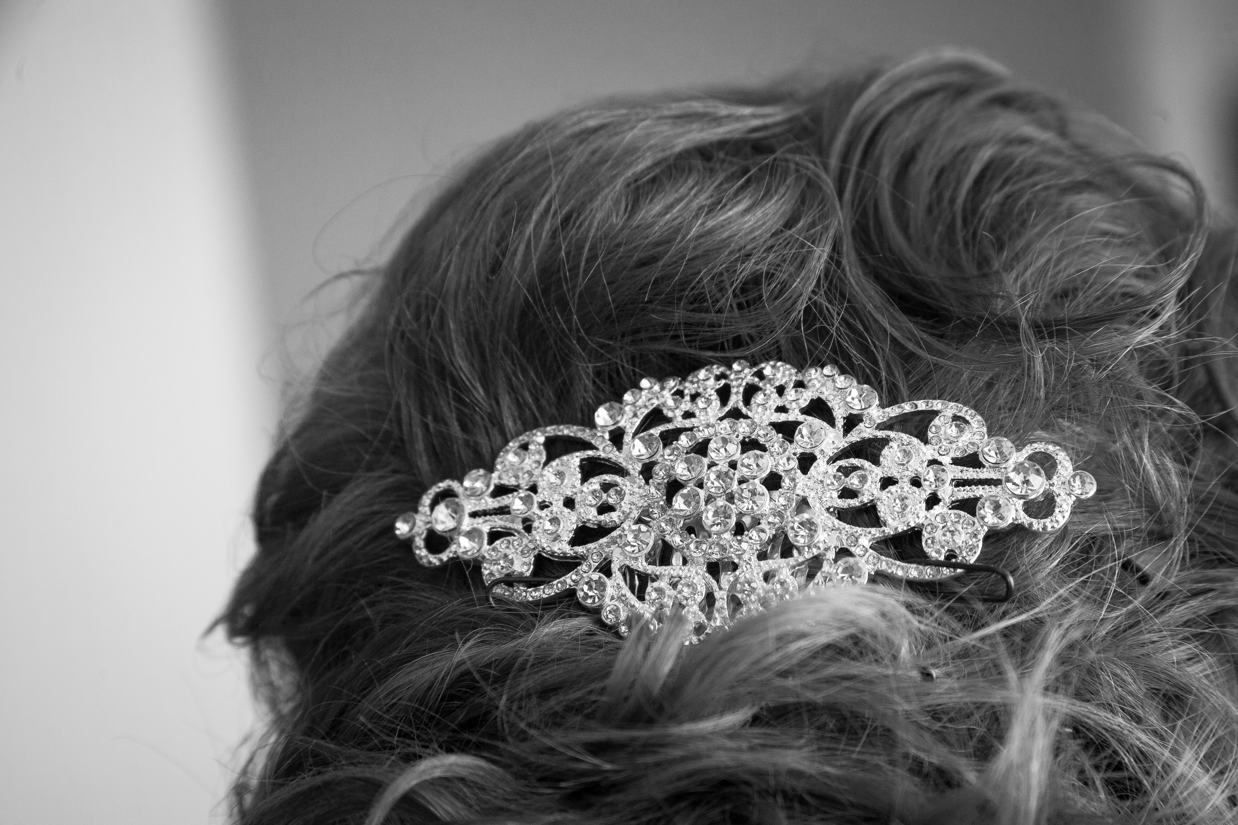 wedding photographer bent-lee carr wedding details hair bride black and white the kyle house fincastle virginia