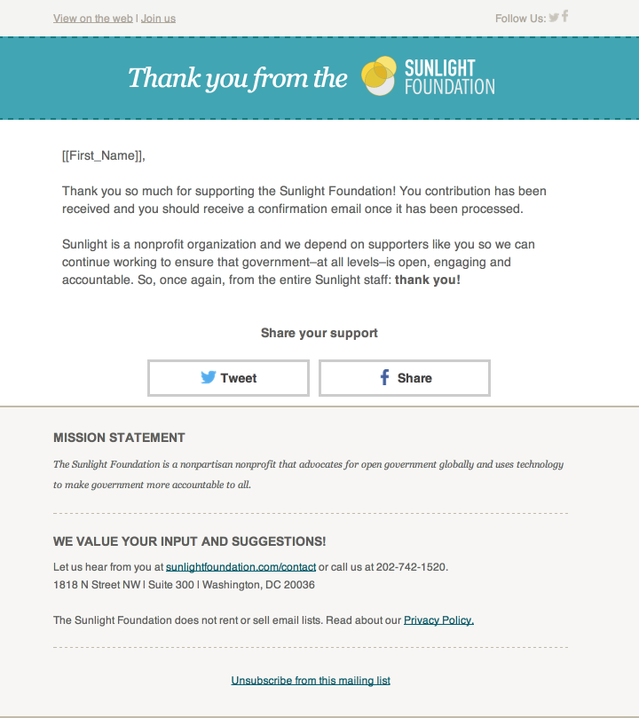 Donation thank you email template