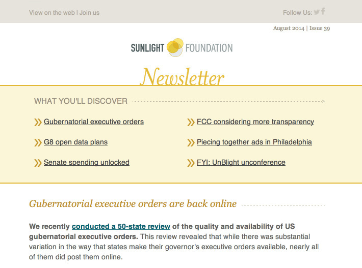 Section of the general newsletter email template