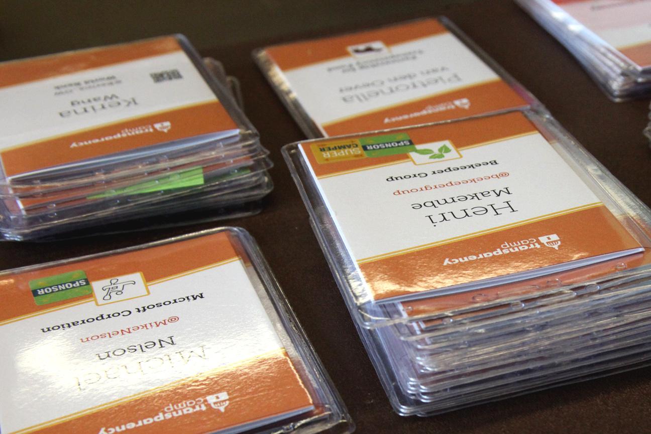 Stacks of conference badges