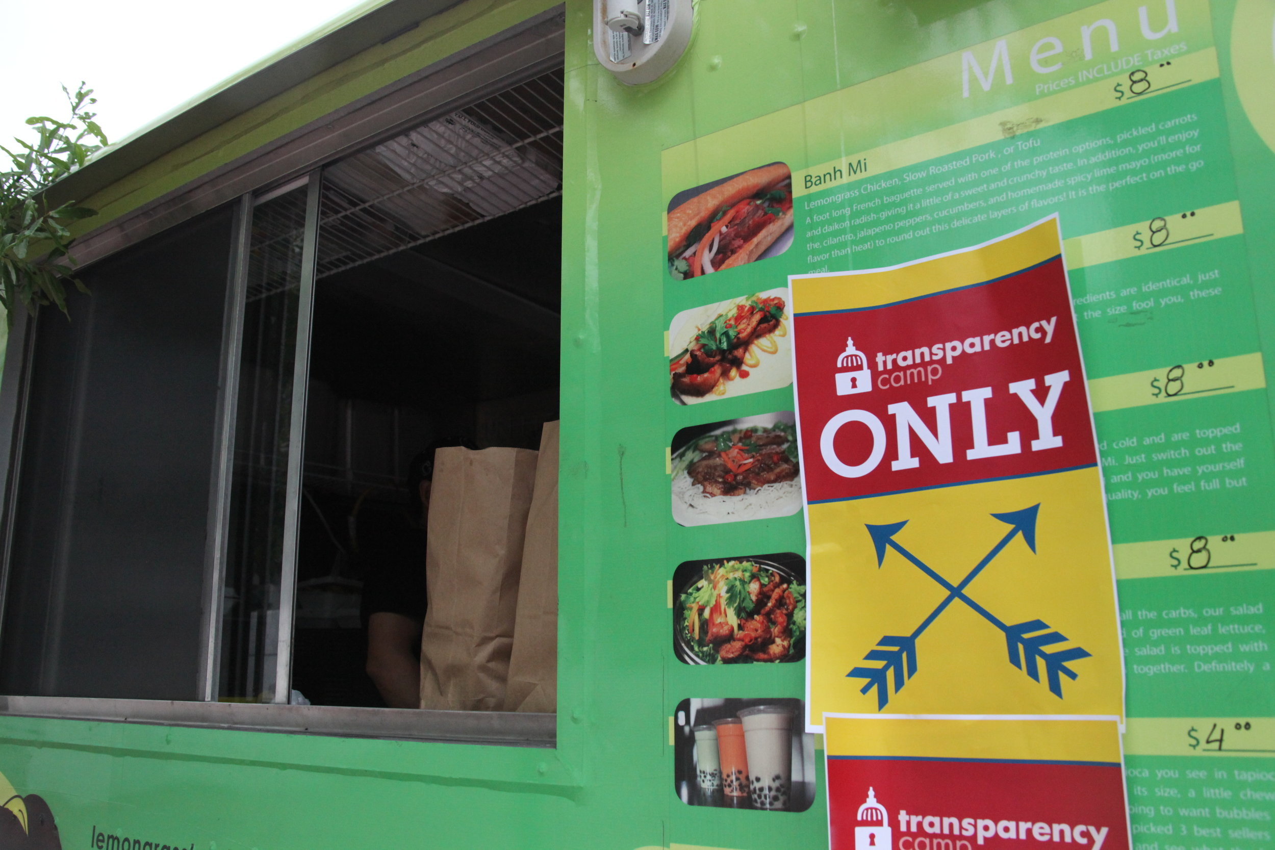 TransparencyCamp only signage on the food truck