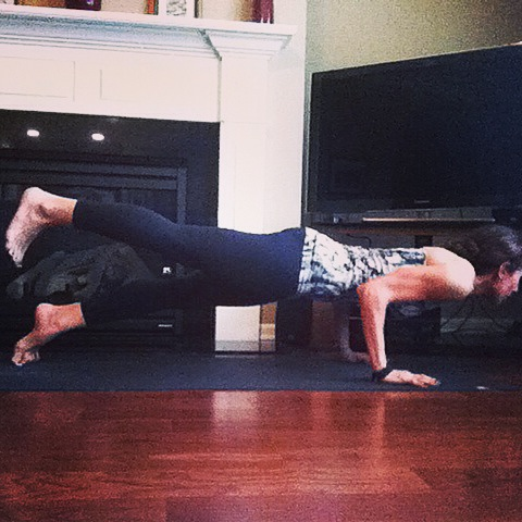Yeah, sometimes I like to show off with a one-legged  chaturanga.