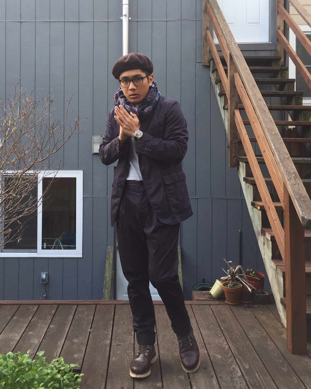 An Engineered Garments suit worn by me!.png