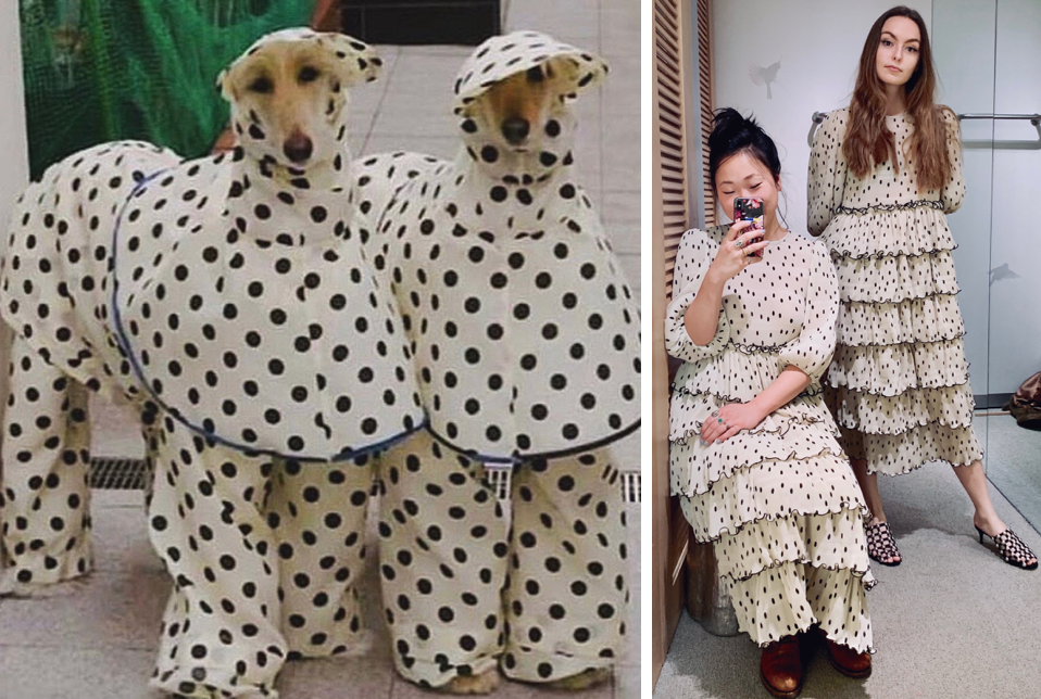 And on a parting note: spots were huge this month—we like to think that  these adorable pups  were inspired by Heana and Sarah's dotted twinning look.