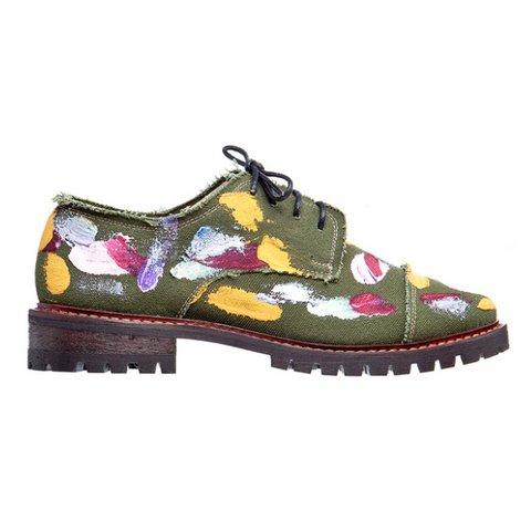 Yeşil El Boyaması Kanvas Ayakkabı fiyatı $285  runway2street.com