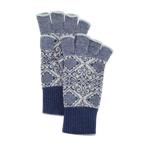 Brora Nordic lacivert & beyaz parmaksız eldiven, $115
