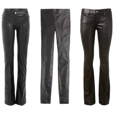 Deri Pantolon Şıklığı    Jitrois ispanyol paça deri pantolon, $2,595,  stylebop.com  ; J.Crew Collection deri tayt, $495,  jcrew.com  ; RtA siyah streç deri pantolon, $1,386,  montaignemarket.com